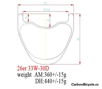 cross-section diagram hookless MTB carbon rims 26er DH/AM 33mm wide
