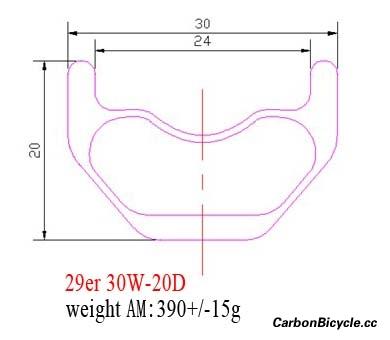 cross-section diagram hookless MTB carbon rims 29er AM 30mm wide