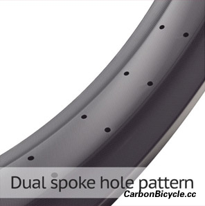 carbon fat bike rim dual spoke hole pattern