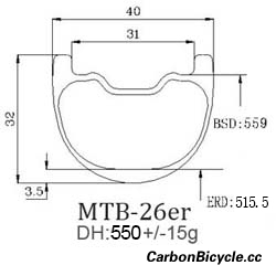 CARBONBICYCLE 26er DH 40mm wide